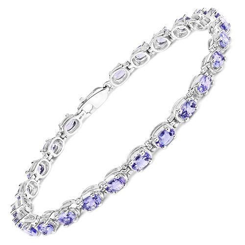 6.25 Carat Genuine Tanzanite .925 Sterling Silver Bracelet