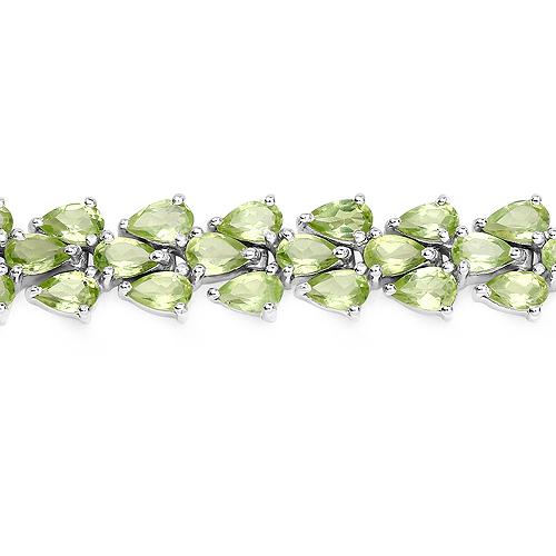 18.26 Carat Genuine Peridot .925 Sterling Silver Bracelet