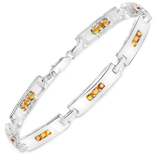 2.52 Carat Genuine Yellow Sapphire .925 Sterling Silver Bracelet
