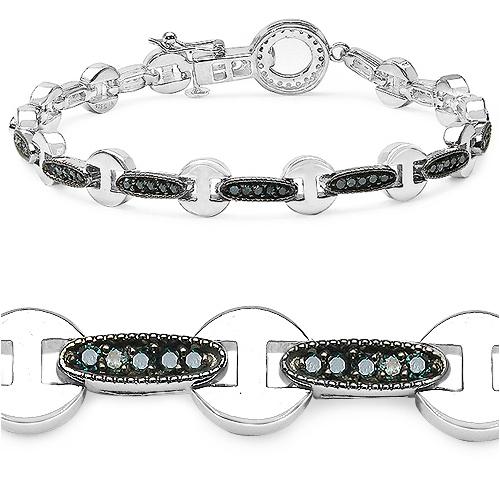 0.98 Carat Genuine Blue Diamond .925 Sterling Silver Bracelet
