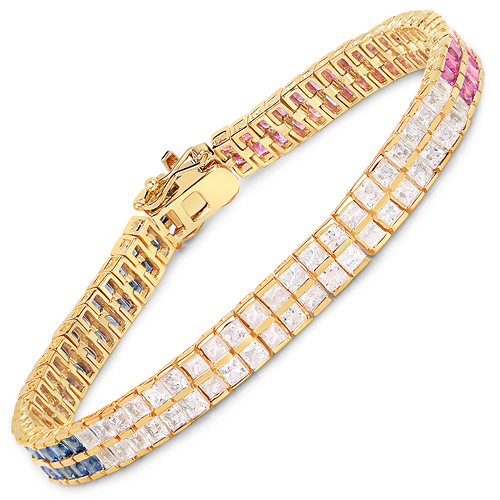 Bracelets-14K Yellow Gold Plated 9.52 Carat Genuine Blue Sapphire and White Sapphire .925 Sterling Silver Bracelet