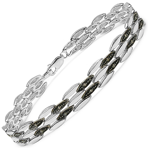 0.22 Carat Genuine Champagne Diamond .925 Sterling Silver Bracelet
