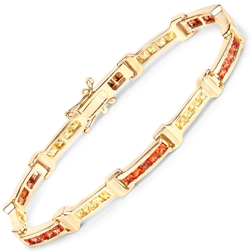 Bracelets-14K Yellow Gold Plated 6.48 Carat Genuine Orange Sapphire and Yellow Sapphire .925 Sterling Silver Bracelet