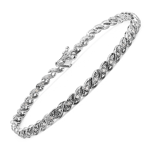 0.32 Carat Genuine White Diamond .925 Streling Silver Bracelet