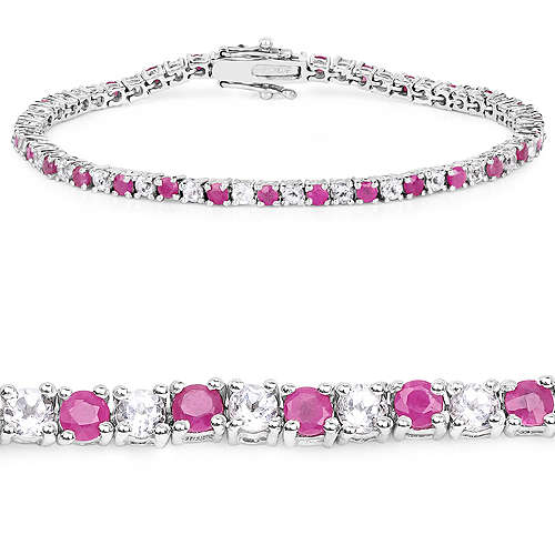 Bracelets-6.09 Carat Genuine Ruby and White Topaz .925 Sterling Silver Bracelet