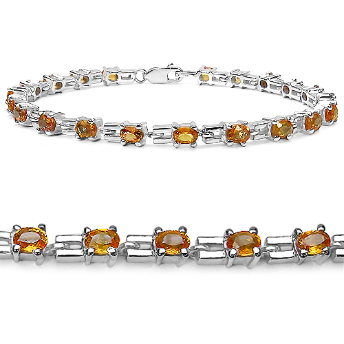 Bracelets-5.25 Carat Genuine Orange Sapphire .925 Sterling Silver Bracelet