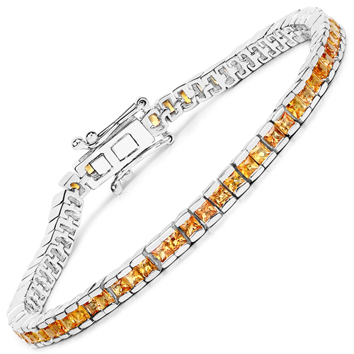 Bracelets-14K Yellow Gold Plated 4.14 Carat Genuine Orange Sapphire .925 Sterling Silver Bracelet