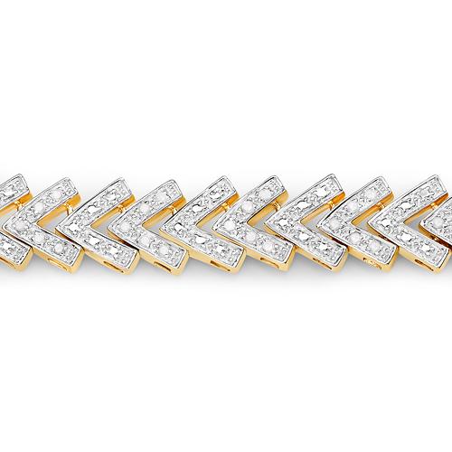 14K Yellow Gold Plated 0.90 Carat Genuine White Diamond .925 Sterling Silver Bracelet