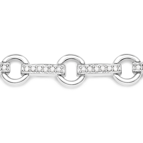 0.76 Carat Genuine White Diamond .925 Sterling Silver Bracelet
