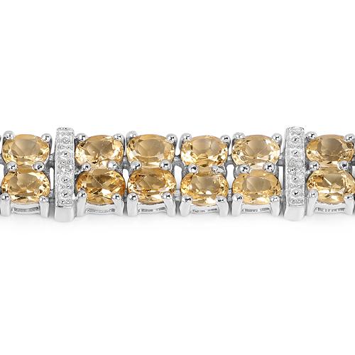 12.21 Carat Genuine Citrine & White Topaz .925 Sterling Silver Bracelet