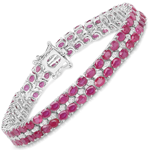 Bracelets-20.03 Carat Glass Filled Ruby and White Topaz .925 Sterling Silver Bracelet