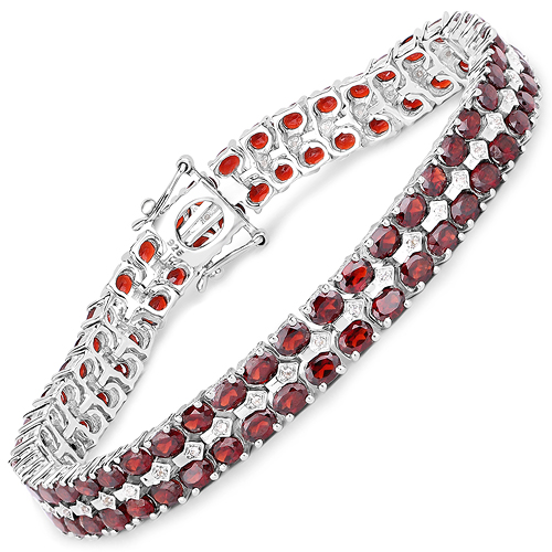 Bracelets-18.23 Carat Genuine Garnet and White Topaz .925 Sterling Silver Bracelet