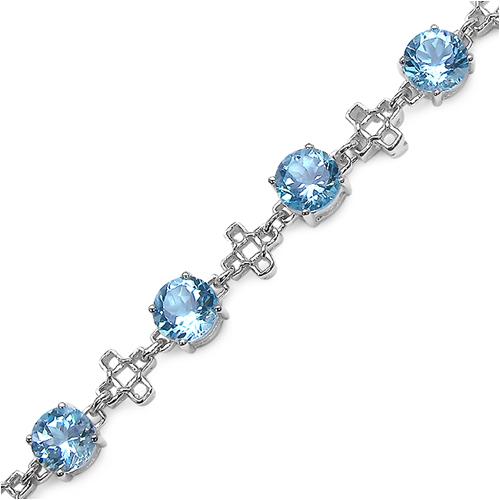 16.00 Carat Genuine Blue Topaz .925 Streling Silver Bracelet
