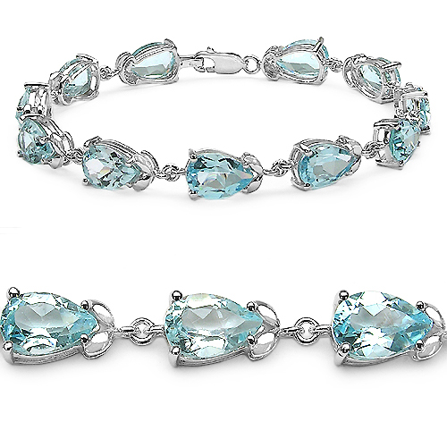 20.90 Carat Genuine Blue Topaz .925 Sterling Silver Bracelet