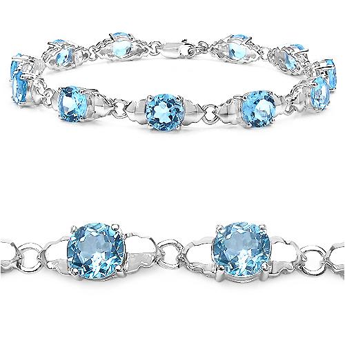 14.80 Carat Genuine Blue Topaz Sterling Silver Bracelet