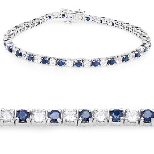 Bracelets-6.87 ct. t.w. Blue Sapphire and White Topaz Bracelet in Sterling Silver