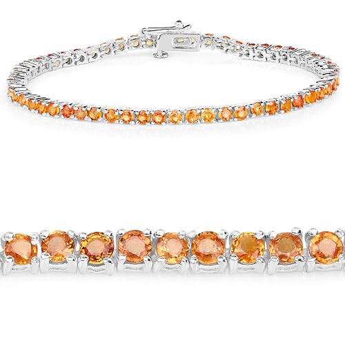 Bracelets-7.70 Carat Genuine Orange Sapphire .925 Sterling Silver Bracelet