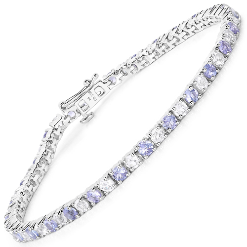 Bracelets-5.77 Carat Genuine Tanzanite and White Topaz .925 Sterling Silver Bracelet