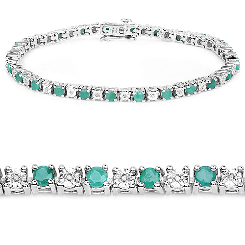Bracelets-2.50 Carat Genuine Emerald and White Diamond .925 Sterling Silver Bracelet
