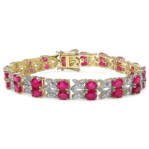 Bracelets-14K Yellow Gold Plated 18.32 Carat Genuine Glass Filled Ruby & White Diamond .925 Sterling Silver Bracelet