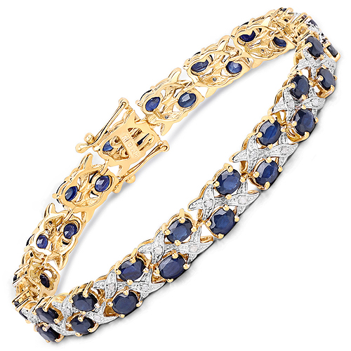 Bracelets-14K Yellow Gold Plated 12.53 Carat Genuine Blue Sapphire and White Diamond .925 Sterling Silver Bracelet