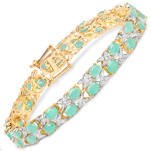 Bracelets-14K Yellow Gold Plated 10.37 Carat Genuine Emerald and White Diamond .925 Sterling Silver Bracelet