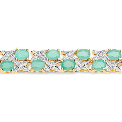 14K Yellow Gold Plated 10.37 Carat Genuine Emerald and White Diamond .925 Sterling Silver Bracelet