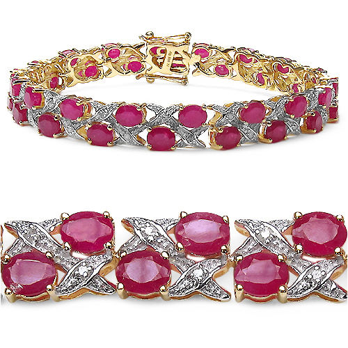 Bracelets-14K Yellow Gold Plated 18.32 Carat Genuine Ruby .925 Sterling Silver Bracelet