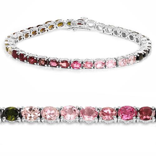 11.16 Carat Genuine Pink Tourmaline, Green Tourmaline and Brown Tourmaline .925 Sterling Silver Bracelet