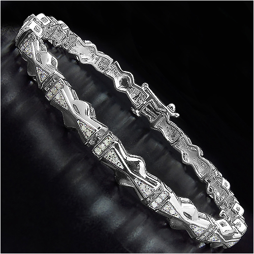 14K Yellow Gold Plated 0.60 Carat Genuine White Diamond .925 Sterling Silver Bracelet