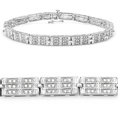1.16 Carat Genuine White Diamond 14K White Gold Plated .925 Sterling Silver Bracelet