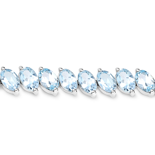 21.42 Carat Genuine Blue Topaz .925 Sterling Silver Bracelet