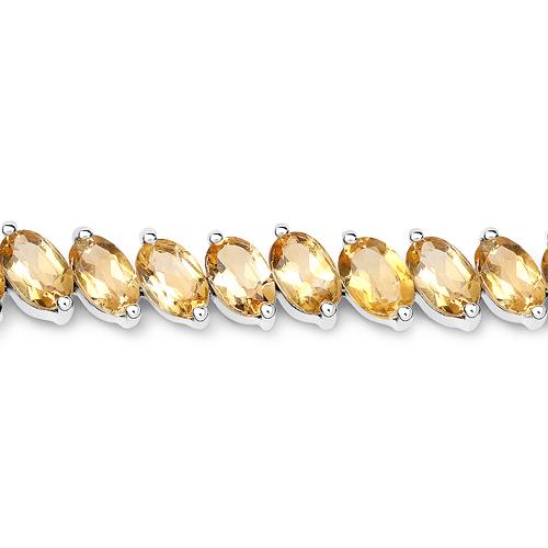 18.06 Carat Genuine Citrine .925 Sterling Silver Bracelet