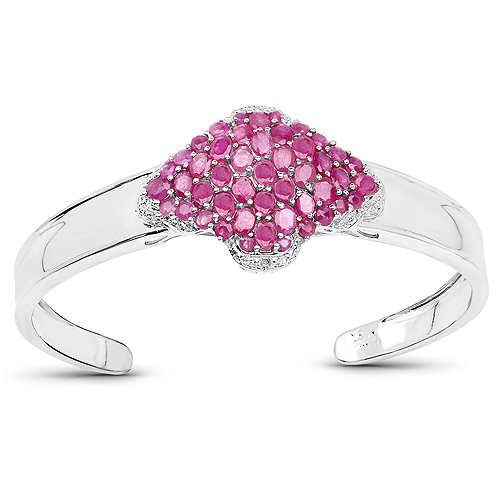 Bracelets-7.38 Carat Glass Filled Ruby, Ruby and White Topaz .925 Sterling Silver Bangle
