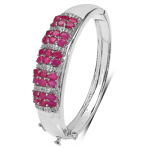 Bracelets-7.50 ct. t.w. Ruby and White Topaz Bangle in Sterling Silver
