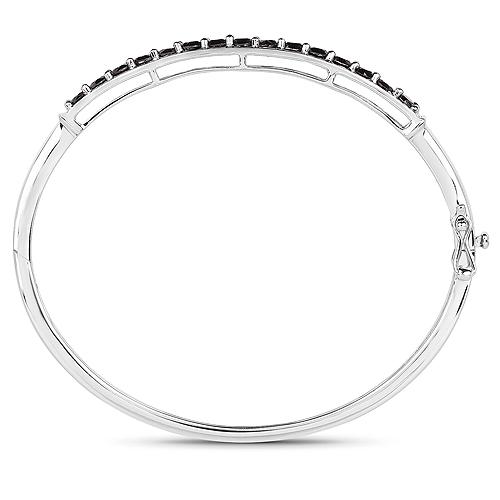2.63 Carat Genuine Black Diamond .925 Sterling Silver Bangle