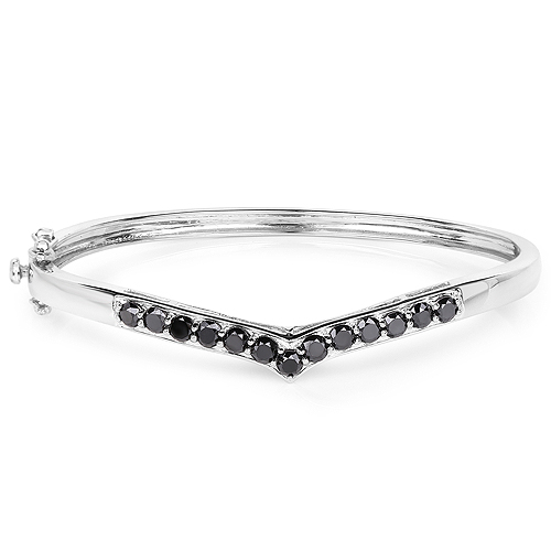 2.28 Carat Genuine Black Diamond .925 Sterling Silver Bangle