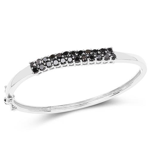 3.53 Carat Genuine Black Diamond .925 Sterling Silver Bangle