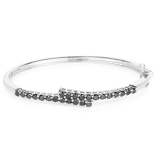 2.52 Carat Genuine Black Diamond .925 Sterling Silver Bangle