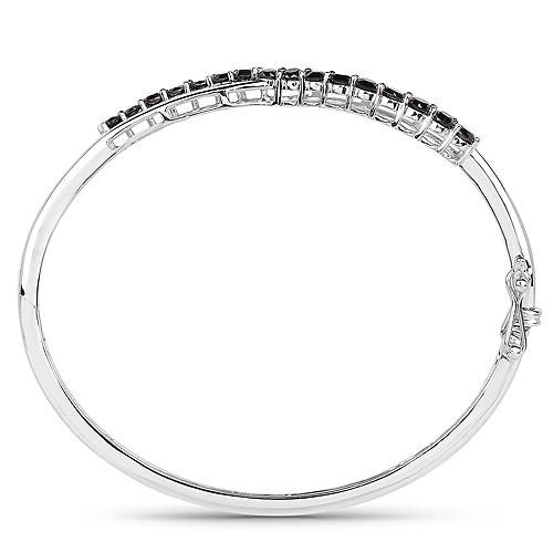 2.22 Carat Genuine Black Diamond .925 Sterling Silver Bangle
