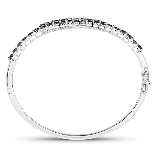 4.00 Carat Genuine Black Diamond .925 Sterling Silver Bangle