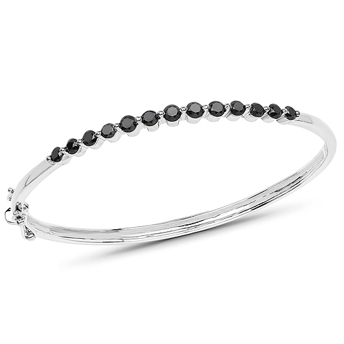 1.96 Carat Genuine Black Diamond .925 Sterling Silver Bangle