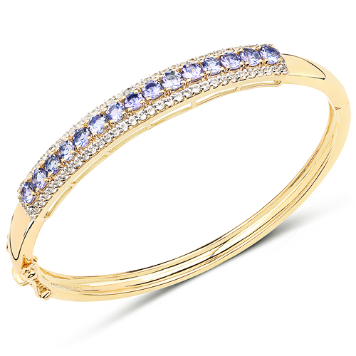 Bracelets-14K Yellow Gold Plated 4.39 Carat Genuine Tanzanite and White Topaz .925 Sterling Silver Bangle