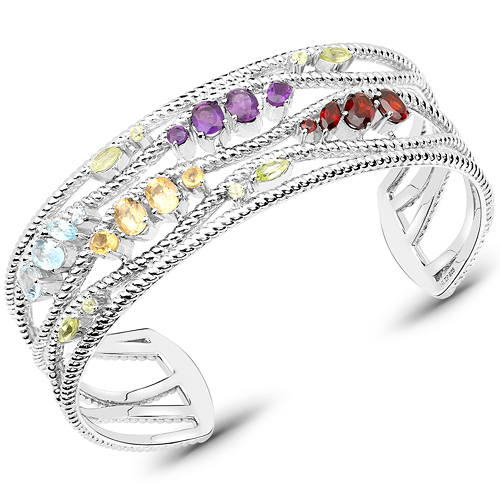 Bracelets-4.82 Carat Genuine Multi Stones .925 Sterling Silver Cuff Bangle
