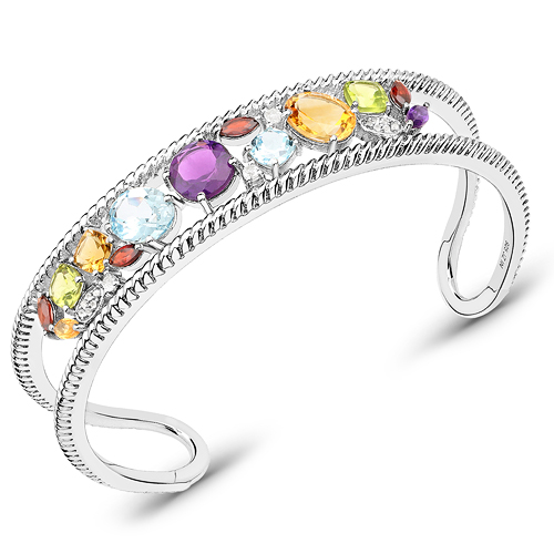 Bracelets-9.09 Carat Genuine Multi Stones .925 Sterling Silver Cuff Bangle