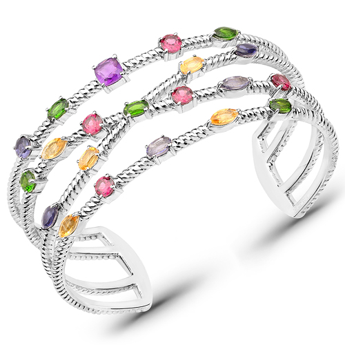 Bracelets-5.33 Carat Genuine Multi Stones .925 Sterling Silver Cuff Bangle