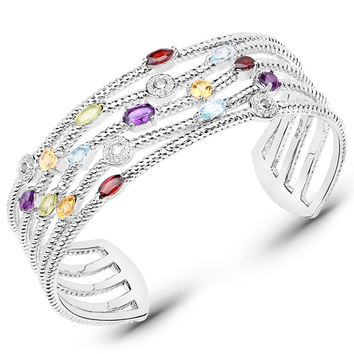 Bracelets-3.97 Carat Genuine Multi Stones .925 Sterling Silver Cuff Bangle
