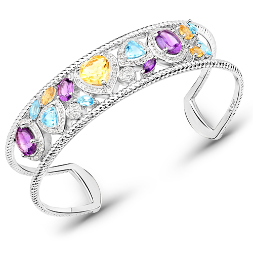 Bracelets-7.27 Carat Genuine Multi Stones .925 Sterling Silver Cuff Bangle