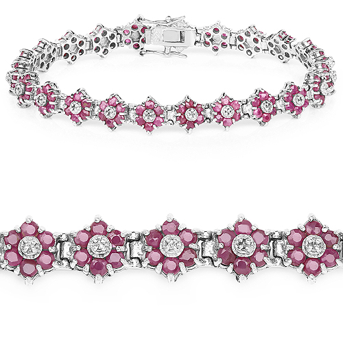 Bracelets-7.00 Carat Genuine Ruby and White Diamond .925 Sterling Silver Bracelet