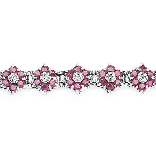 7.00 Carat Genuine Ruby and White Diamond .925 Sterling Silver Bracelet